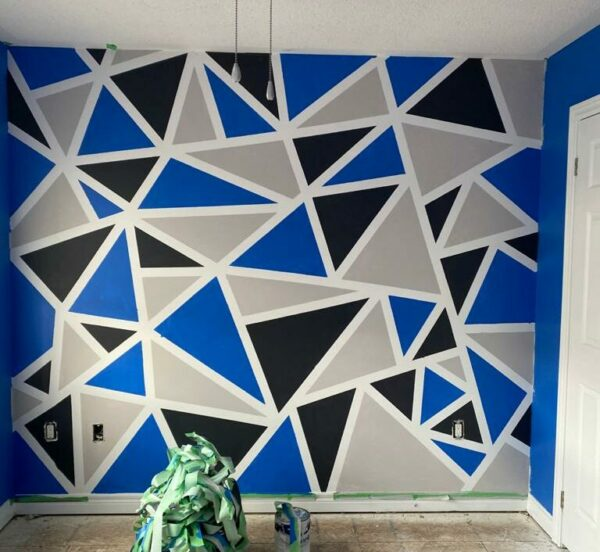 30 Trendy Geometric Wall Painting Ideas for a Boy's Room -geometric blue and grey wall paint