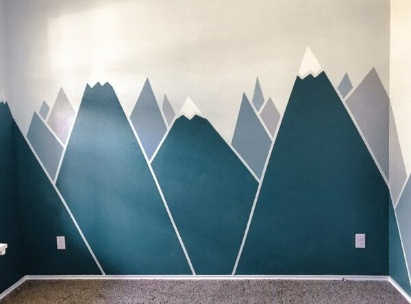 30 Trendy Geometric Wall Painting Ideas for a Boy's Room- Mountain mural geometric wall design