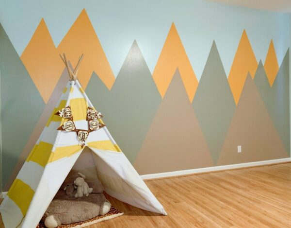 30 Trendy Geometric Wall Painting Ideas for a Boy's Room- mountain mural geometric wall paint