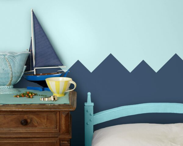30 Trendy Geometric Wall Painting Ideas for a Boy's Room - triangle wave geometric wall paint