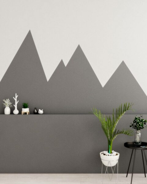 30 Trendy Geometric Wall Painting Ideas for a Boy's Room -grey mountain style geometric shape wall paint