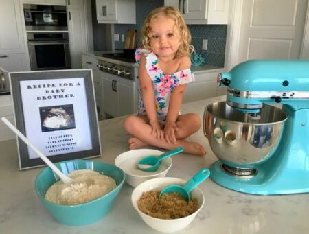 baby cooking big sister recipe for pregnancy announcement