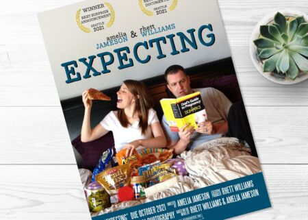 Expecting movie poster pregnancy announcement