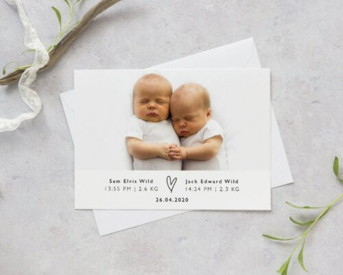 Baby Birth Announcement Ideas for a new addition to your Family -Twins baby birth announcement idea