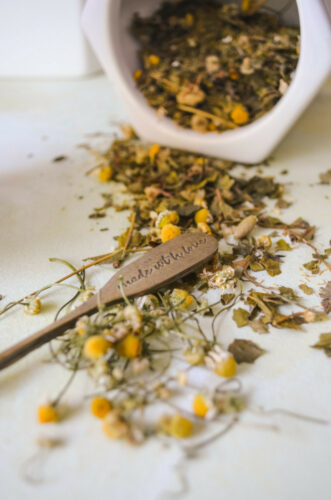 chamomile flowers on the counter