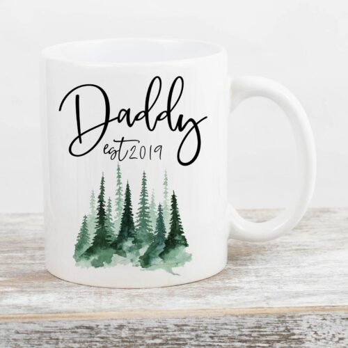 White mug with Daddy -to-be pregnancy announcement to husbad