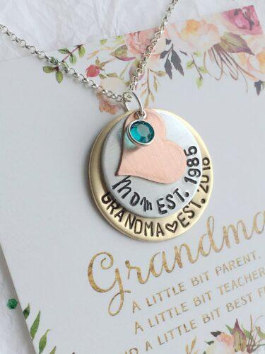 grandma necklace for pregnancy announcement