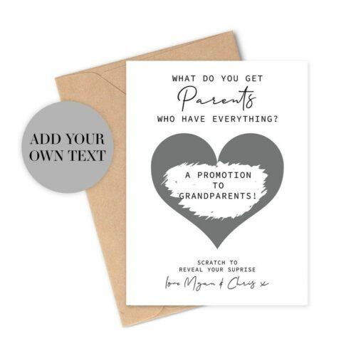 Pregnancy announcement scratch card