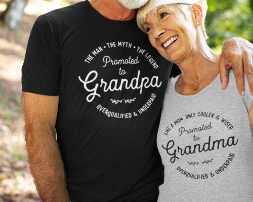 man and women wearing  promoted to grandma and grandpa tshirts